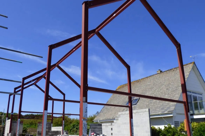 Steel frame of building